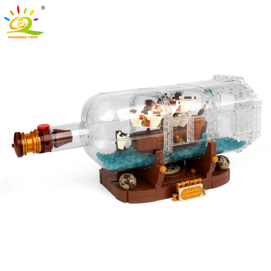 1080Pcs Pirates of the Caribbean Boat in the bottle ideas building blocks Compatible Legoed city creator brick Toys For Children