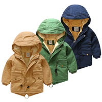 Hot Selling Newest Baby with Hat Cotton Clothes 2018 Winter Korean Version Boys 'clothes Children Plus Velvet Thick Jacket