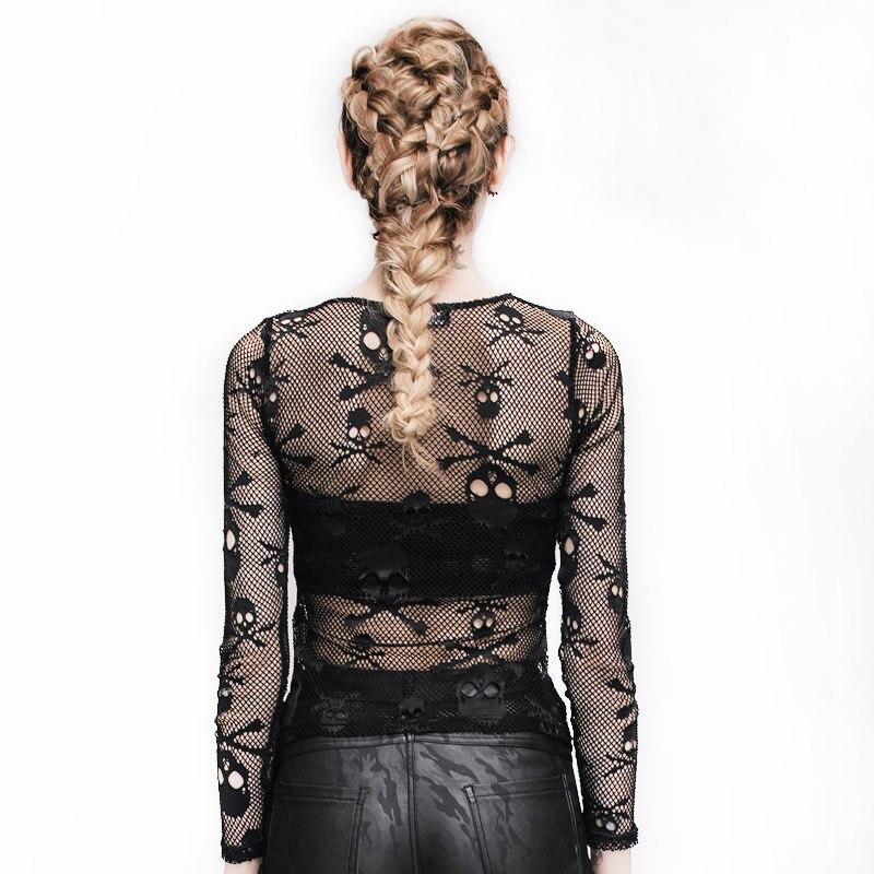 Steampunk Qadın Pambıqlı T-shirt Kəllə Çaplı Şəffaf Toplar - Qadın geyimi - Fotoqrafiya 2