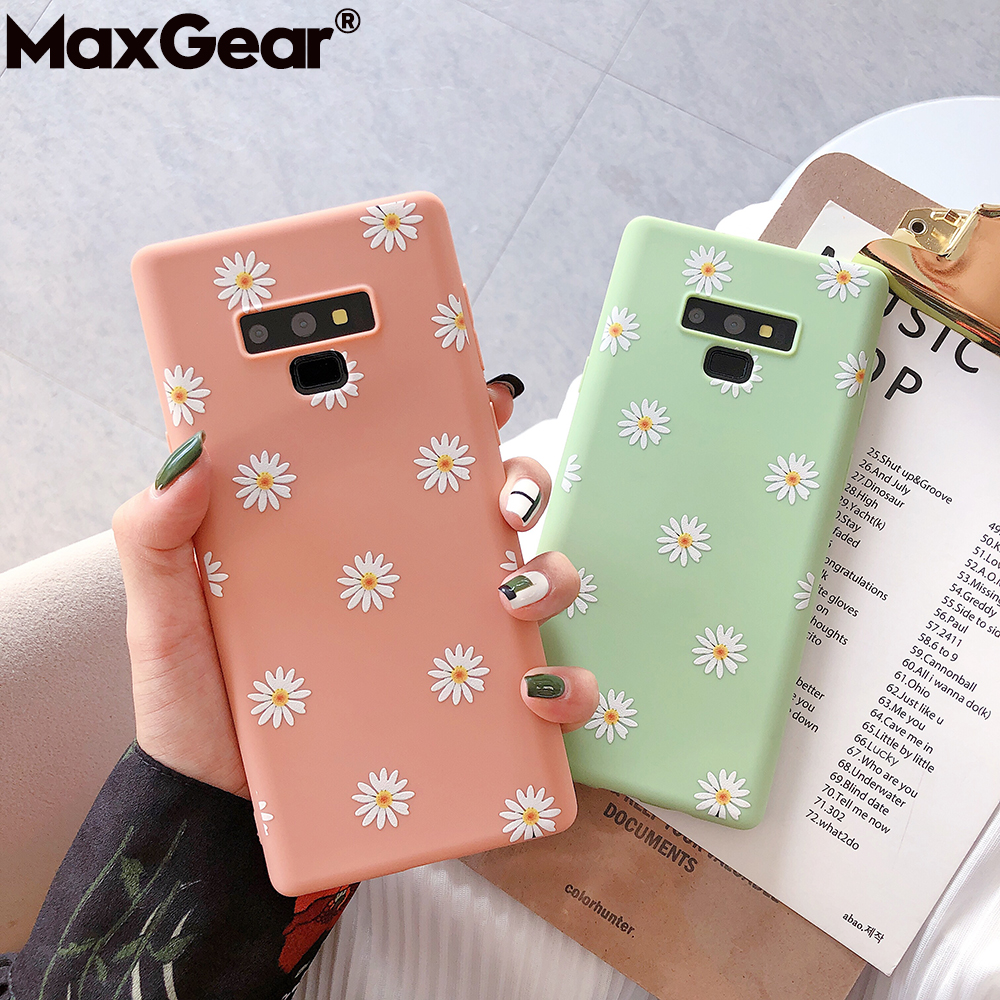 Soft-Silicone-Cases Floral-Cover Flowers Daisy E-Note S9plus Girly Cute Samsung Galaxy