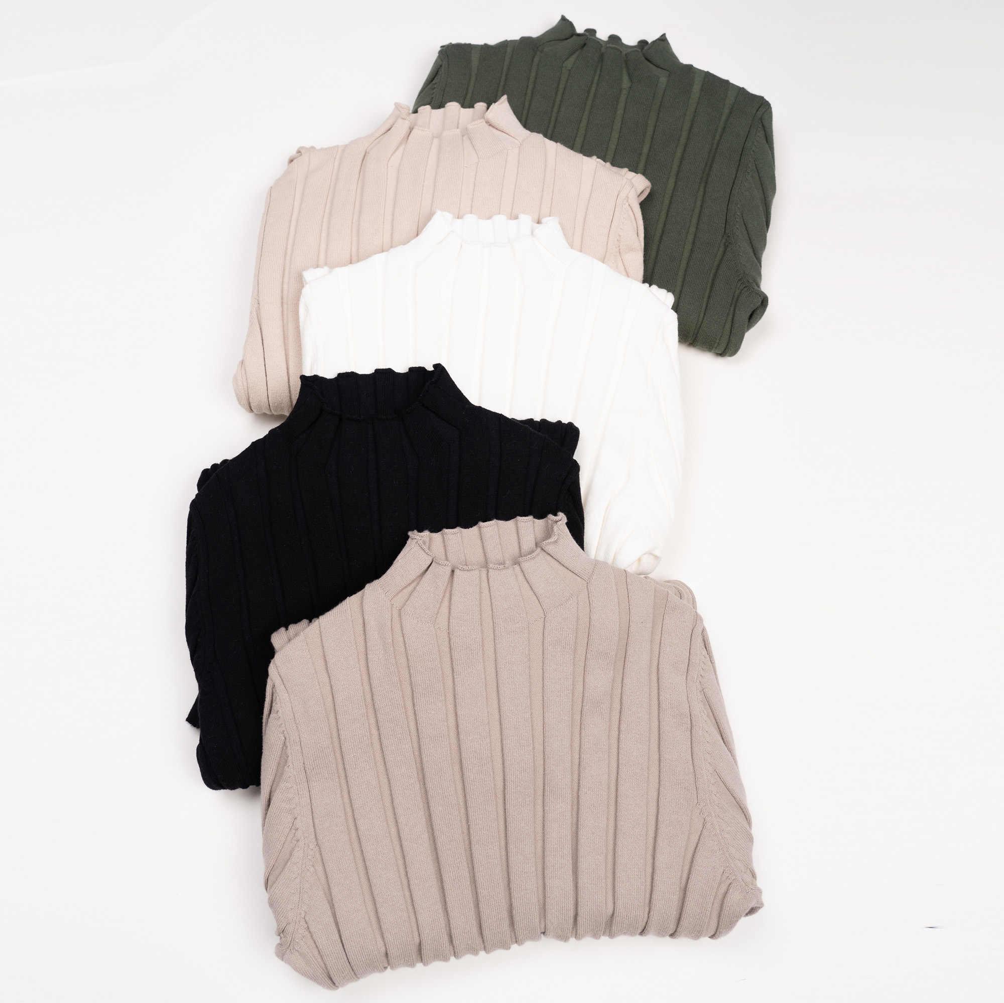 100% כותנה לסרוג רחב מצולעים למעלה נשים מוק צוואר סוודר סרוג בסוודרים בסיסי