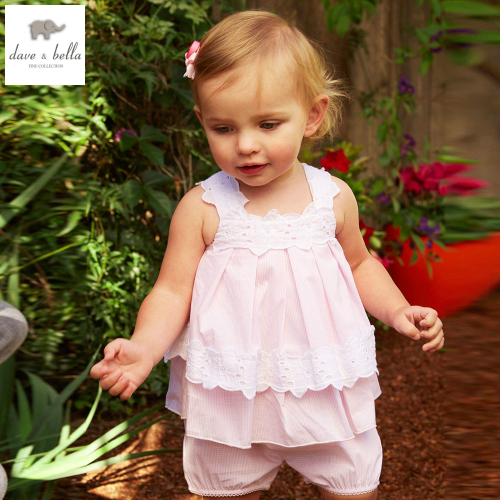 DB4847 dave bella summer baby girls pink plaid clothing sets kids lovely sets toddle cloth kids sets baby fancy clothes