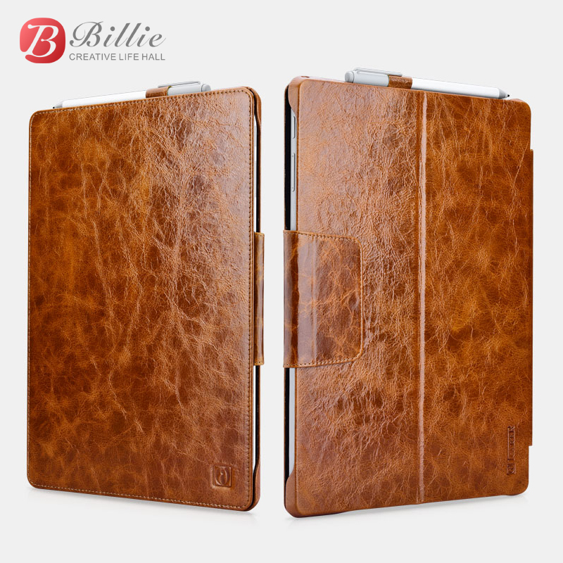 Oil Wax Vintage Cowhide Genuine Leather Case for Microsoft Surface Pro 4 Retro Business Stand Smart Cover For Surface Pro4 bags 1x clear screen protector ultra magnetic luxury folio stand leather case smart cover for microsoft surface pro 4 pro4 1724