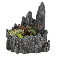 OULII Simulation Miniature Rock Mountain Hill Cliff Flower Succulent Plants Pot Holders Plant Garden Pots Sculpture Planter