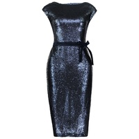Young17 Fall Dress Women Sequins Lace Up Elegant Bodycon Sleeveless O Neck Christmas Club Sexy Party