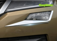 ABS Chrome Front Fog Lamp Eyelid Strip Trim Cover Auto Accessories For Skoda Kodiaq 2017 2018