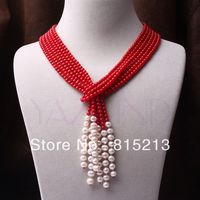 ddh0060 3 strands handmade red coral round ball pearl scarf style fine chain necklace N Discount