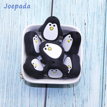 Joepada 10Pc Lovely Penguin Silicone Beads Food Grade Cartoon Teether for DIY Baby Teething Necklace Accessories