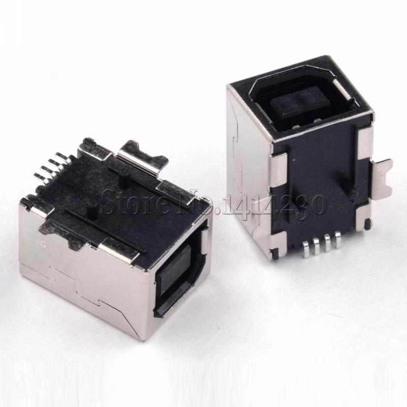 10 adet tip B dişi SMT 180 derece USB-B SMD USB-BF faks iletişim arayüzü