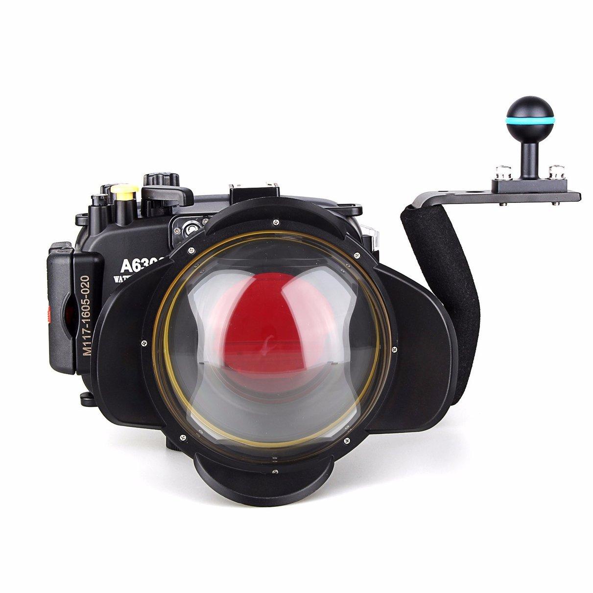 Meikon 40m/130ft Waterproof Underwater Camera Housing Case for A6300 + Aluminium handle + 67mm Fisheye Lens + 67mm Red Filter 40m 130ft waterproof housing case for sony rx100 iv m4 fisheye wide angle lens