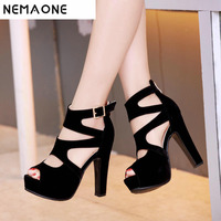 2018 Summer Brand Shoes Women Flock Sandals High Heel Pumps Thick Heel Sandals Strappy Evening Shoes large Size 34 43