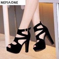 2017 Summer Brand Shoes Women Flock Sandals High Heel Pumps Thick Heel Sandals Strappy Evening Shoes