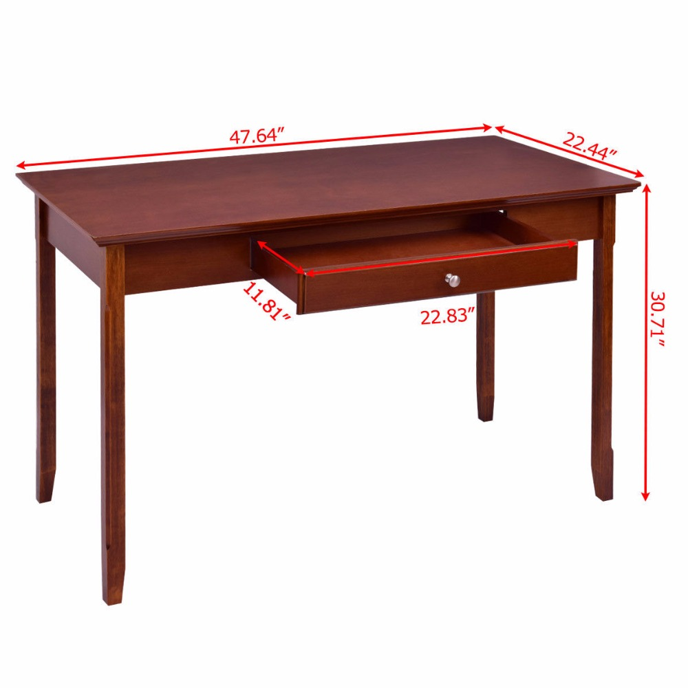 Goplus Wood Console Table Student Writing Desk with One Drawer Entryway Living Room Furniture Office Home Modern Tables HW56277