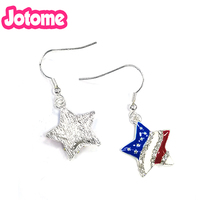 50/100pairs Fashion Crystal Rhinestone Enamel USA America Flag Star Earring Jewelry Can sell as pendant for gift/party