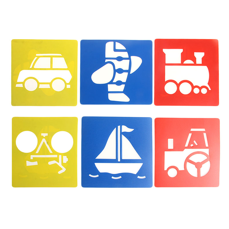 New 6x Children Transport Shaped Plastic Painting Drawing Template Stencil Kids Toy