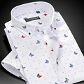 CAIZIYIJIA Summer 2017 Men's Short-sleeve Butterfly Floral Print Shirts Square Collar Comfort Soft Casual Slim Fit Cotton Shirt