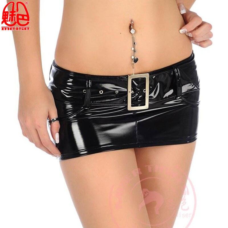PVC Shiny Sashes MINI Skirt Women PU Latex Sexy Skirts Ladies Punk Tight Hip Slim Low Waist A-line Skirt Plus Size Denim Skirts