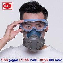 SJL очки+ Пылезащитная маска высокое качество анти-туман Анти-шок силикагель гелевые очки Респиратор маска пылезащитный респиратор Пылезащитная маска