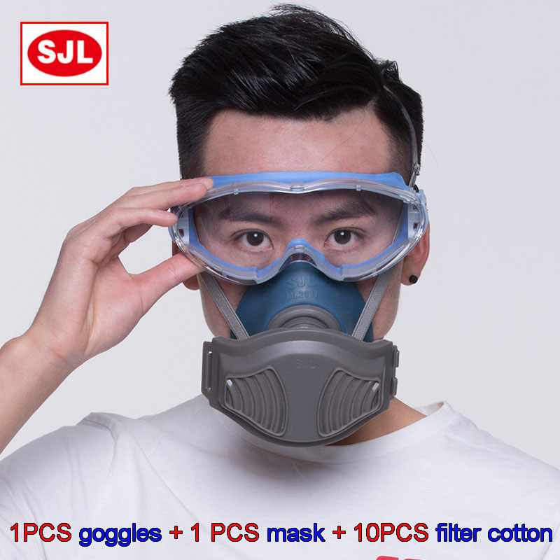 SJL Goggles + dust mask high quality Anti-fog Anti-shock Silica gel Goggles respirator mask dust-proof respirator dust mask high quality respirator gas mask provide silica gel gray protective mask paint pesticides industrial safety mask
