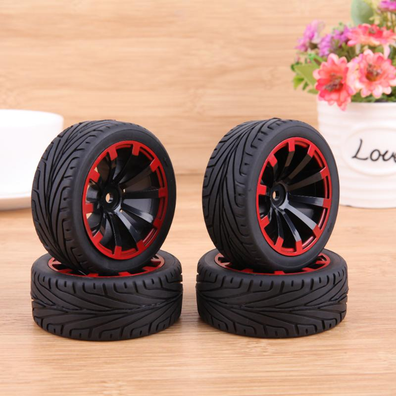 4PCS Rubber RC Racing Tires Car-styling On Road Wheel Rim Fit For HSP HPI 1/10 High Quality RC Car Part Diameter 68mm Tires 1 10 rubber on road racing car model replacement tire black 4 pcs