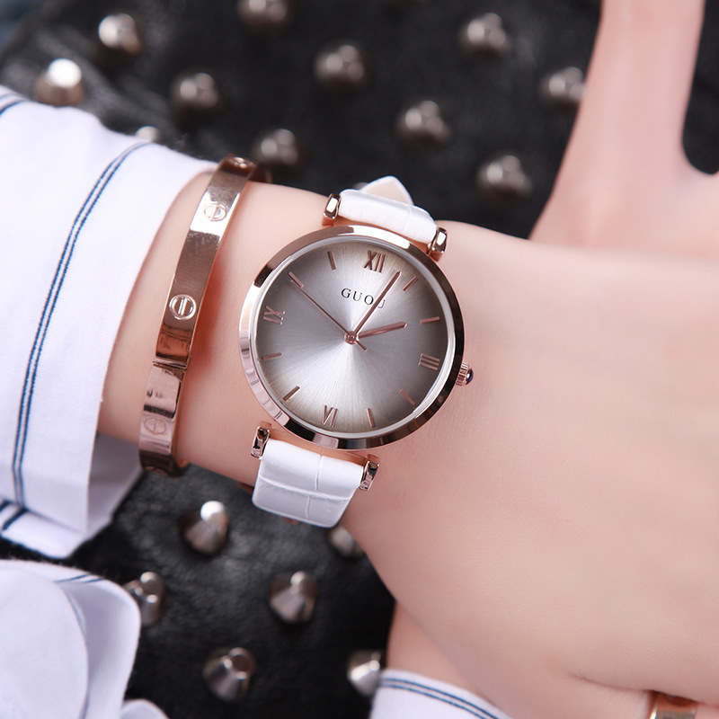 Classic Durable Original GUOU Brand Quartz Wrist Watches Wristwatch for Women Girls Ladies Black White Red