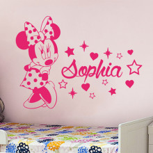 Minnie Wall Decal Custom Name For Girls Bedroom Vinyl Stickers Kids Room Personalized Animal Mouse Nursery DecorSYY963