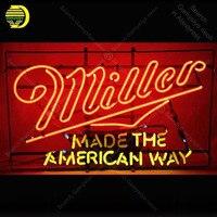 Neon Sign for Miller light Made the American Way Bulbs Acade decor Display Bar Neon Light up wall Neon Sign for Room Letrero
