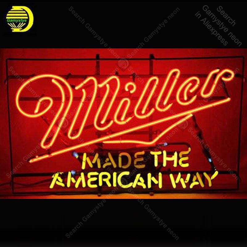 Enseigne au néon pour Miller light Made the American Way ampoules Acade décor affichage Bar néon éclairer mur néon enseigne pour chambre Letrero