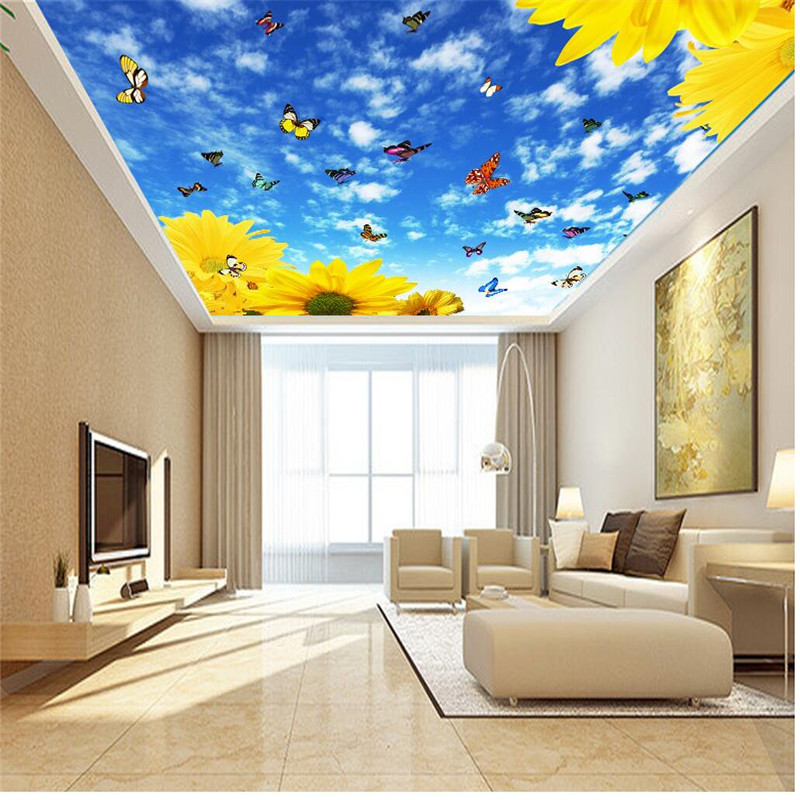 living ceiling drawing butterfly sunflower cloud flower background restaurant decoration painting wallpapers decor