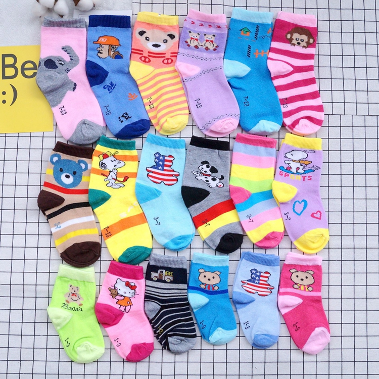 c6251f98f22e 5 Pairs Baby Socks Newborn Infant Kids Cotton Non Anti Slip Socks Boy Girl  Cartoon Bobby Sock Kitty Calcetines Children Sock Toy