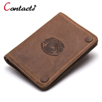CONTACT S 2017 Men Wallet Genuine Leather Men Wallet Crazy Horse Cowhide Leather Short Male Clutch