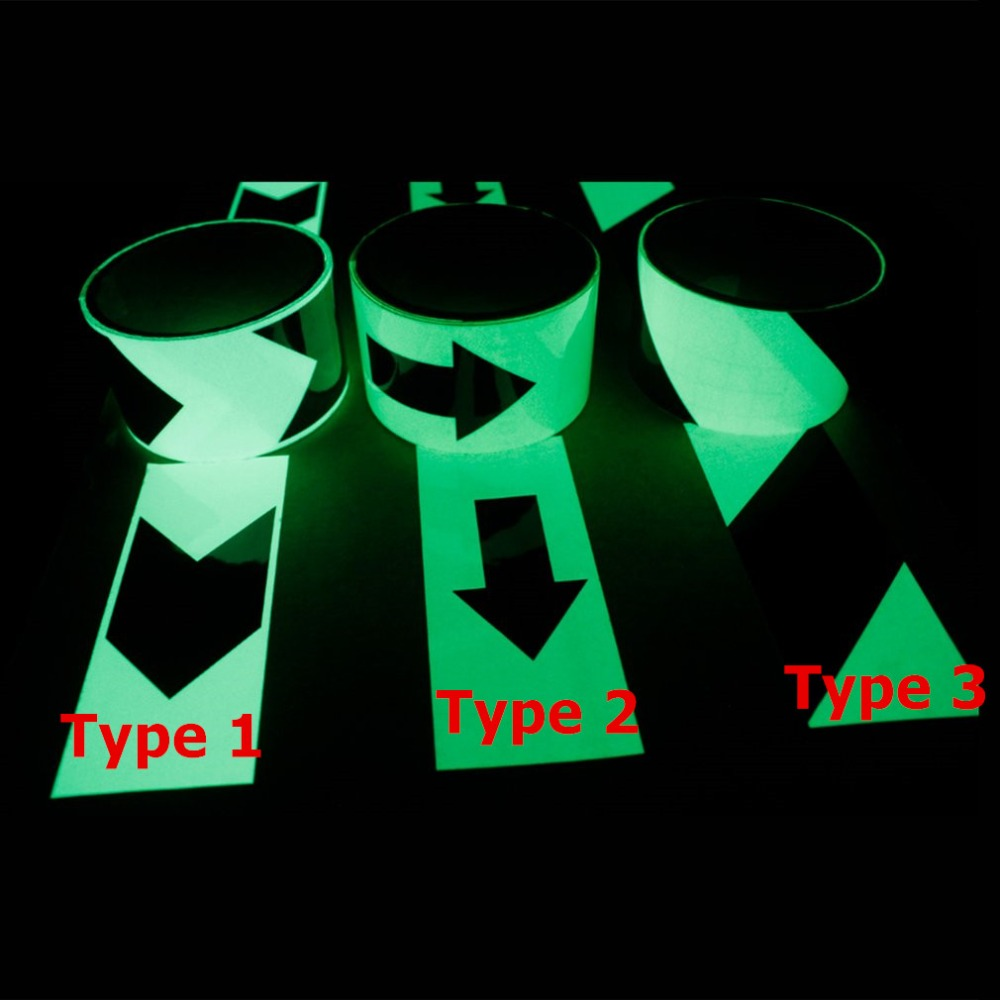 5CM*1M Luminous Tape With Arrows Self-adhesive Fluorescent Glow In The Dark Safety Warning Tape Waterproof Strip Sticker