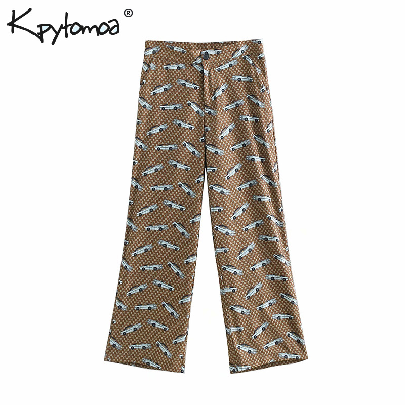 Vintage Stylish Car Floral Print   Wide     Leg     Pants   Women 2019 Fashion Zipper Fly Loose Button Ladies Trousers Casual Pantalon Femme