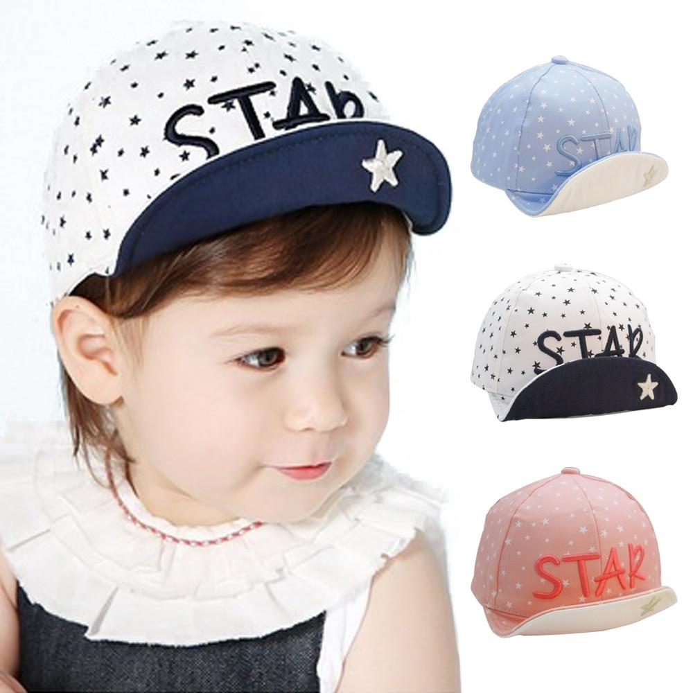 Baby Hats Kids Star Print Baseball Cap Palm Newborn Infant Boy Girl Beanies Cotton Caps Toddler Summer Visors Sun Hat Casquette