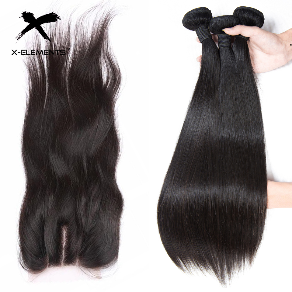 X Elements Malaysian Straight Hair Bundles With Closure 100 Human Hair Weave With Closure Remy Hair