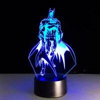 אשליה novelty מארוול גיבור העל באטמן 3d חזותי לילה אור led דקור תאורת חדר שינה מנורת שולחן מתנת יום הולדת
