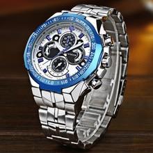 WWOOR Relojes de pulsera de acero inoxidable para hombre, reloj de pulsera masculino, esfera grande, 2019