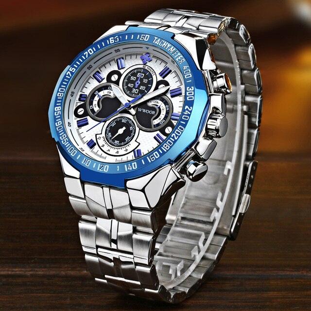 Часы WWOOR Мужские Наручные с большим циферблатом, брендовые Роскошные модные, из нержавеющей стали, 2019