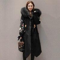 2018 зимняя куртка для женщин; Большие размеры большой меховой воротник парки с капюшоном Новые модные женские туфли зимняя куртка длинное па