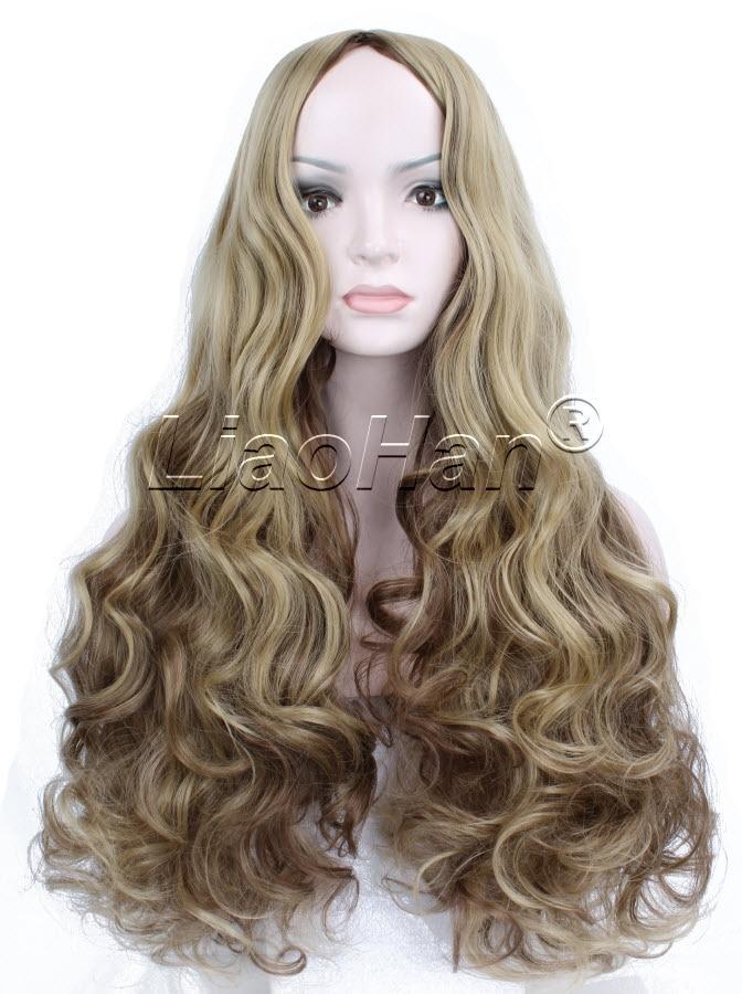 2016 fashion wig long curly highlight