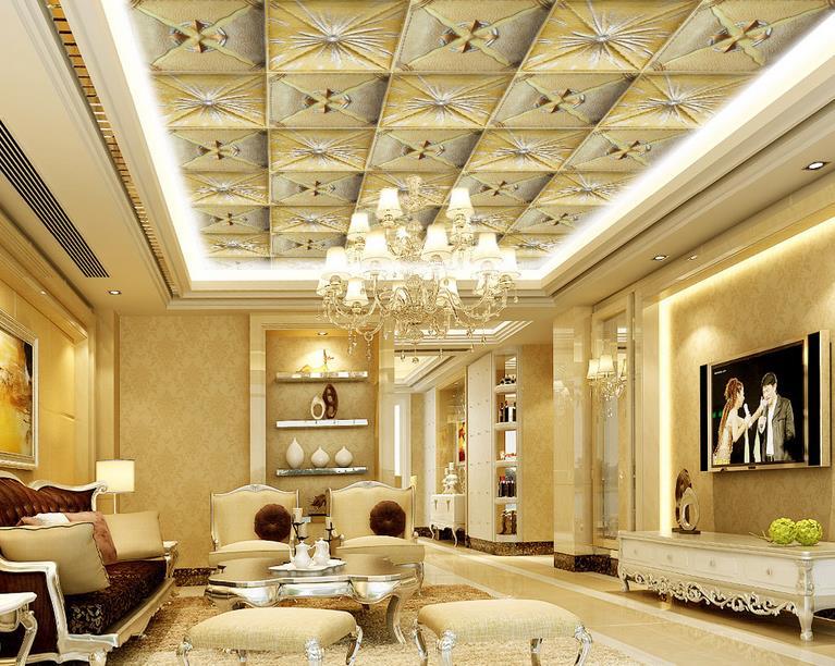 Papier peint de luxe plafond personnalisé 3d papier peint bâtons en cuir plafond 3d papier peint pour salle de bain papier peint 3d pour plafond