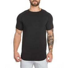 Brand gyms clothing fitness t shirt men fashion extend hip hop summer short sleeve t-shirt cotton bodybuilding muscle guys Brand