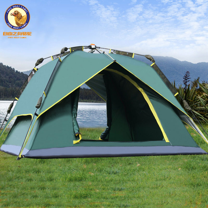 Outdoor 3-4 person double layer automatic tent waterproof anti-UV big space camping tent high quality outdoor 2 person camping tent double layer aluminum rod ultralight tent with snow skirt oneroad windsnow 2 plus
