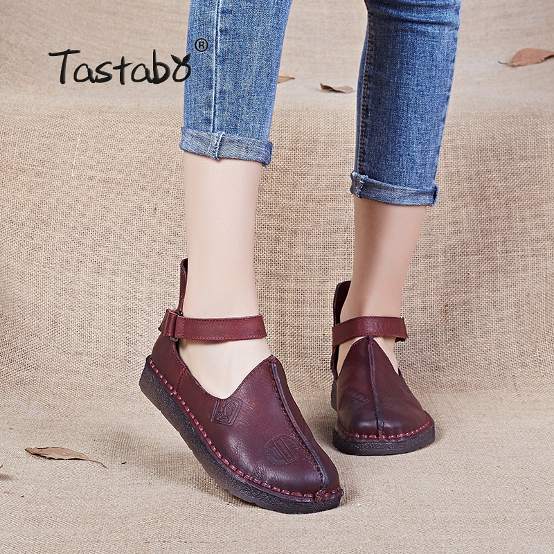 Tastabo Women Shoe Genuine Leather Handmade Flats Shoes 2017 Spring Autumn Fashion Shoe Comfortable Soft Driving Shoes Women pir motion sensor alarm security detector wireless ceiling can work with gsm home alarm system 6pcs cpir 100b