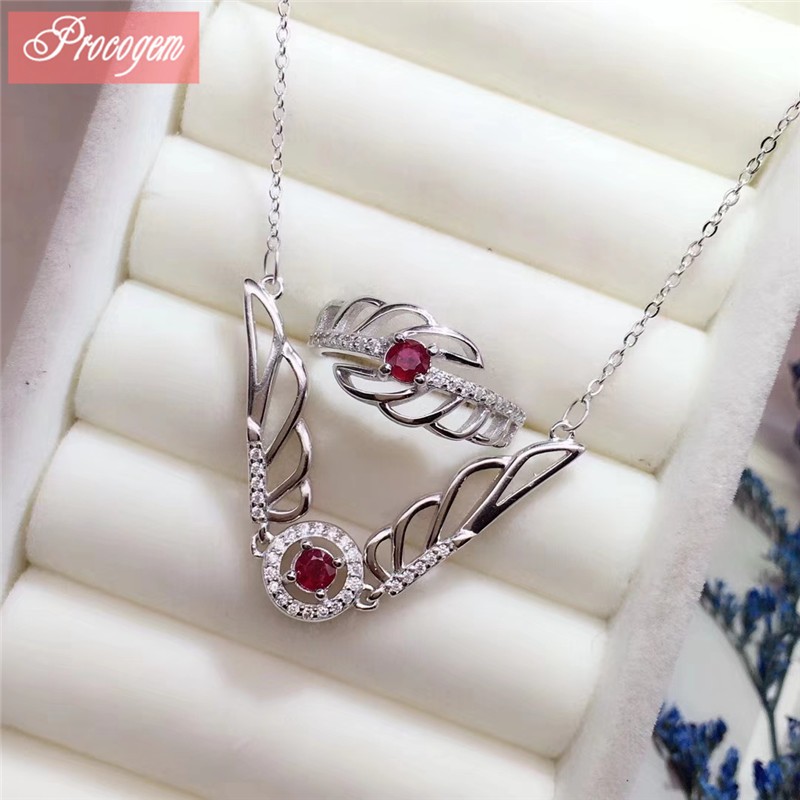Procogem Natural Ruby jewelry sets for women Nacklace & Ring Wing style 925 Sterling silver fine Jewelry set wholesaler #1036 Procogem Natural Ruby jewelry sets for women Nacklace & Ring Wing style 925 Sterling silver fine Jewelry set wholesaler #1036