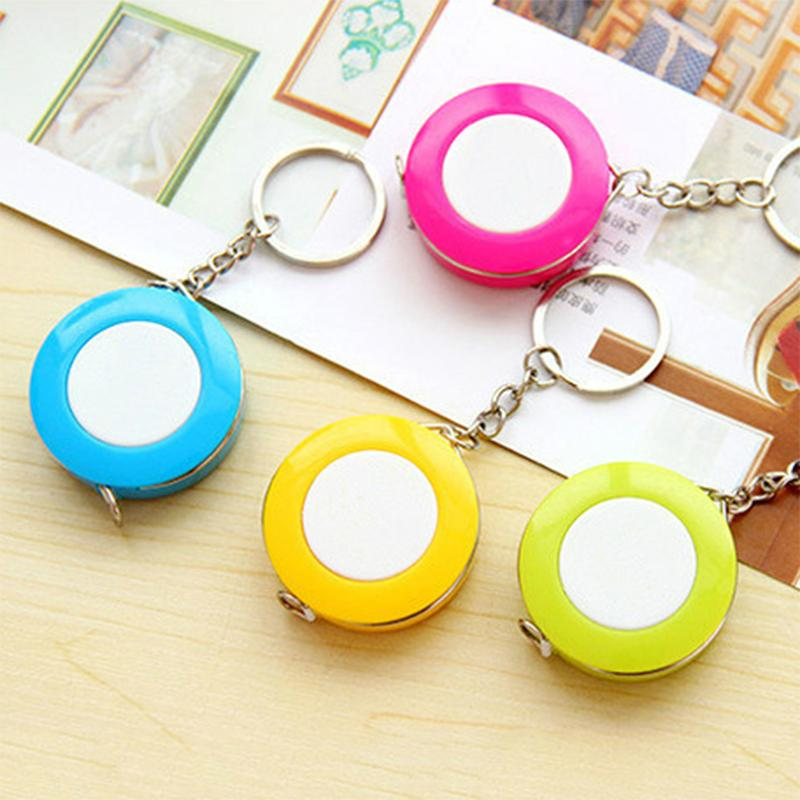 Wholesale 1.5M Candy Color Mini Keychain Tape Measure Portable Ruler Centimeter Inch Children Height Ruler