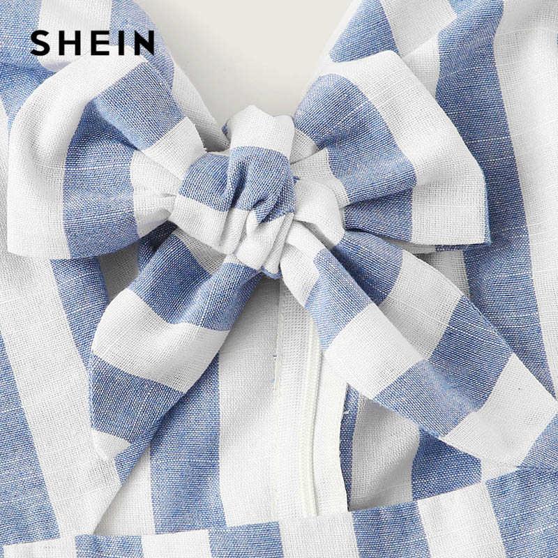 SHEIN Boho синий бантик с косыми карманами полосатый комбинезон женский костюм пляжного типа без рукавов Лето 2019 Повседневный пляжный стиль милый комбинезон