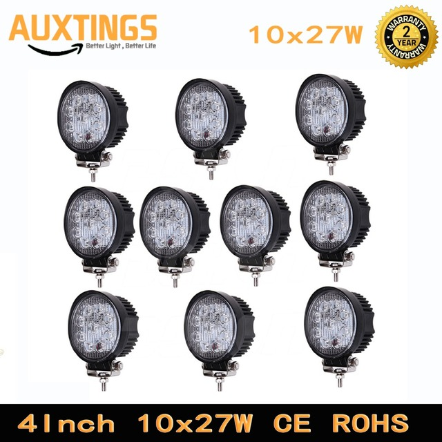 "10PCS FREE SHIPPING 4"" 27W round led work light bar ce rohs led work lamp SPOT FLOOD Beam for 4x4 offroad tractor ATV SUV CAR"