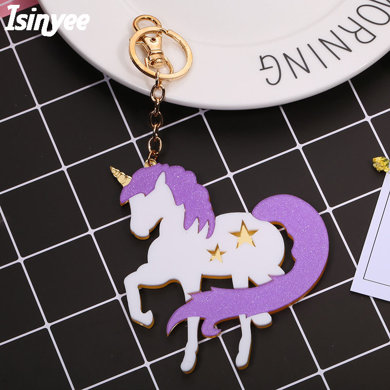 ISINYEE Fashion Big Acrylic Unicorn Keychain For Women Cars Bags 2017 Purple Horse Key Chains Holder Jewelry Accessories