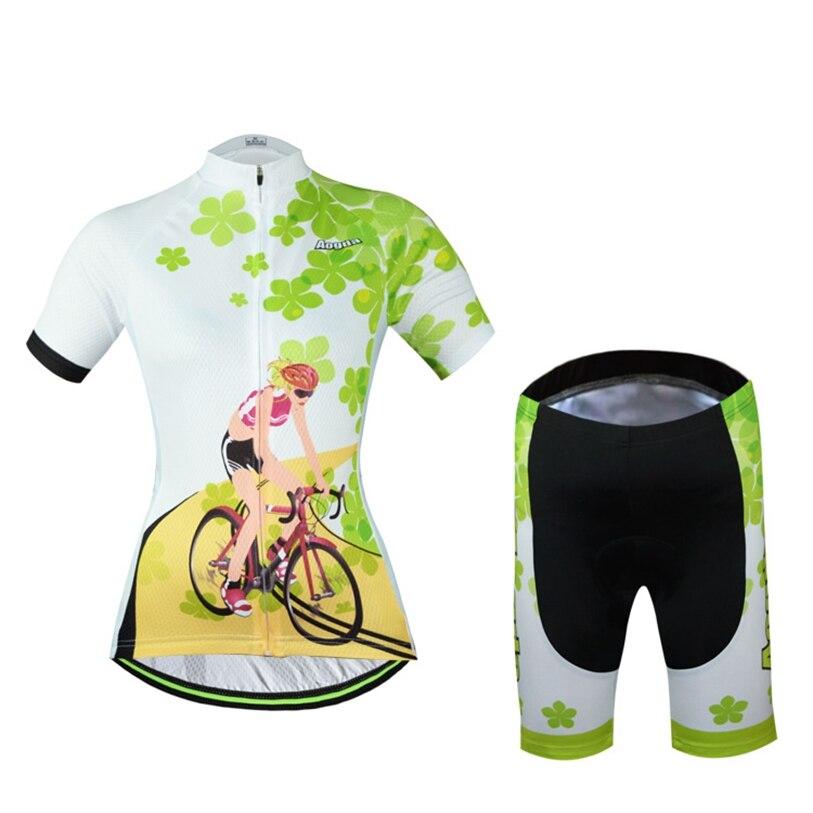 b048631ab 2016 Aogda Women Cycling Jersey shorts Sets Cycling Clothing Pro Bike Jersey  Clover Bike Wear Bicycle